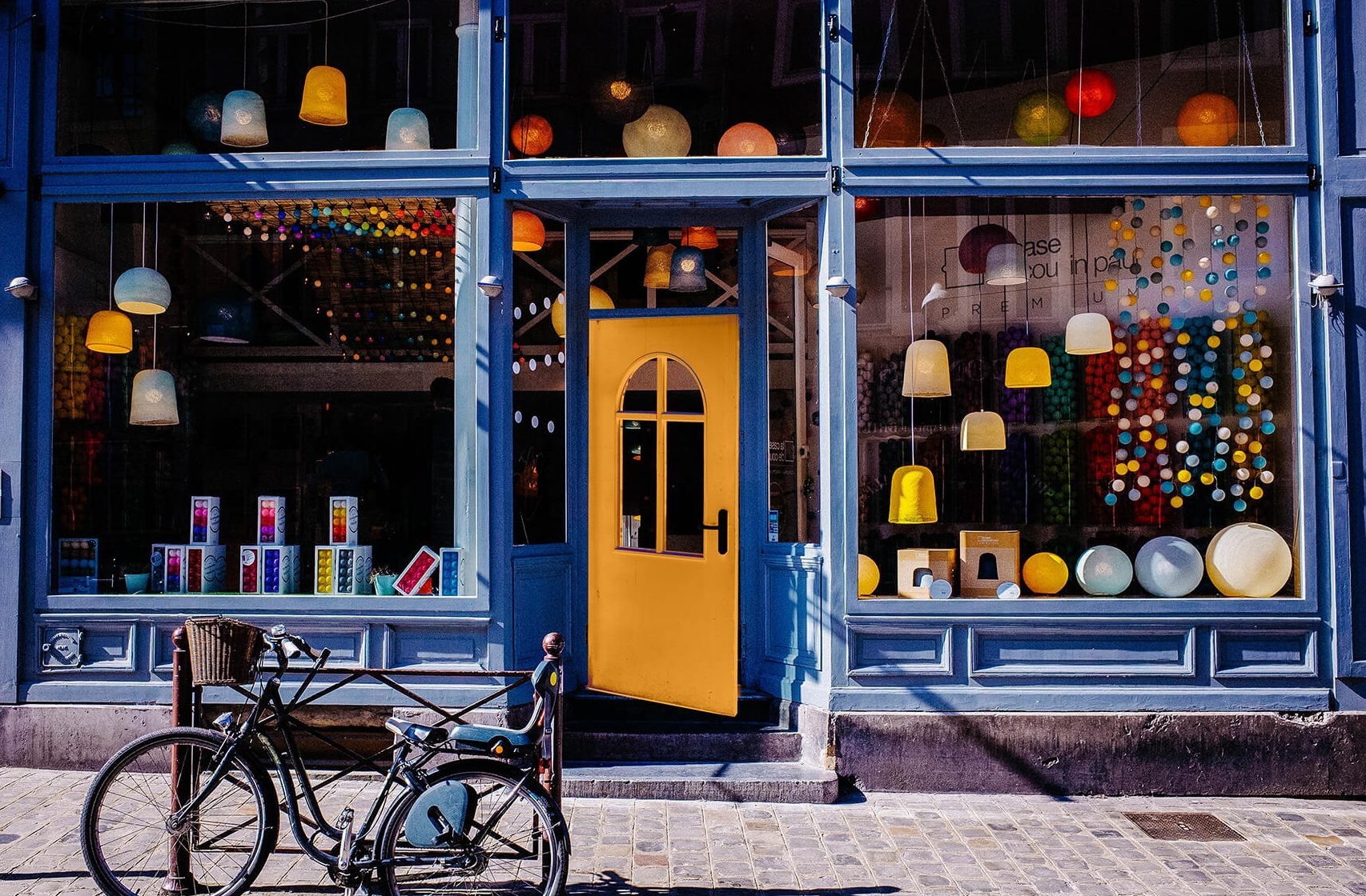 Shop front with colourful window display