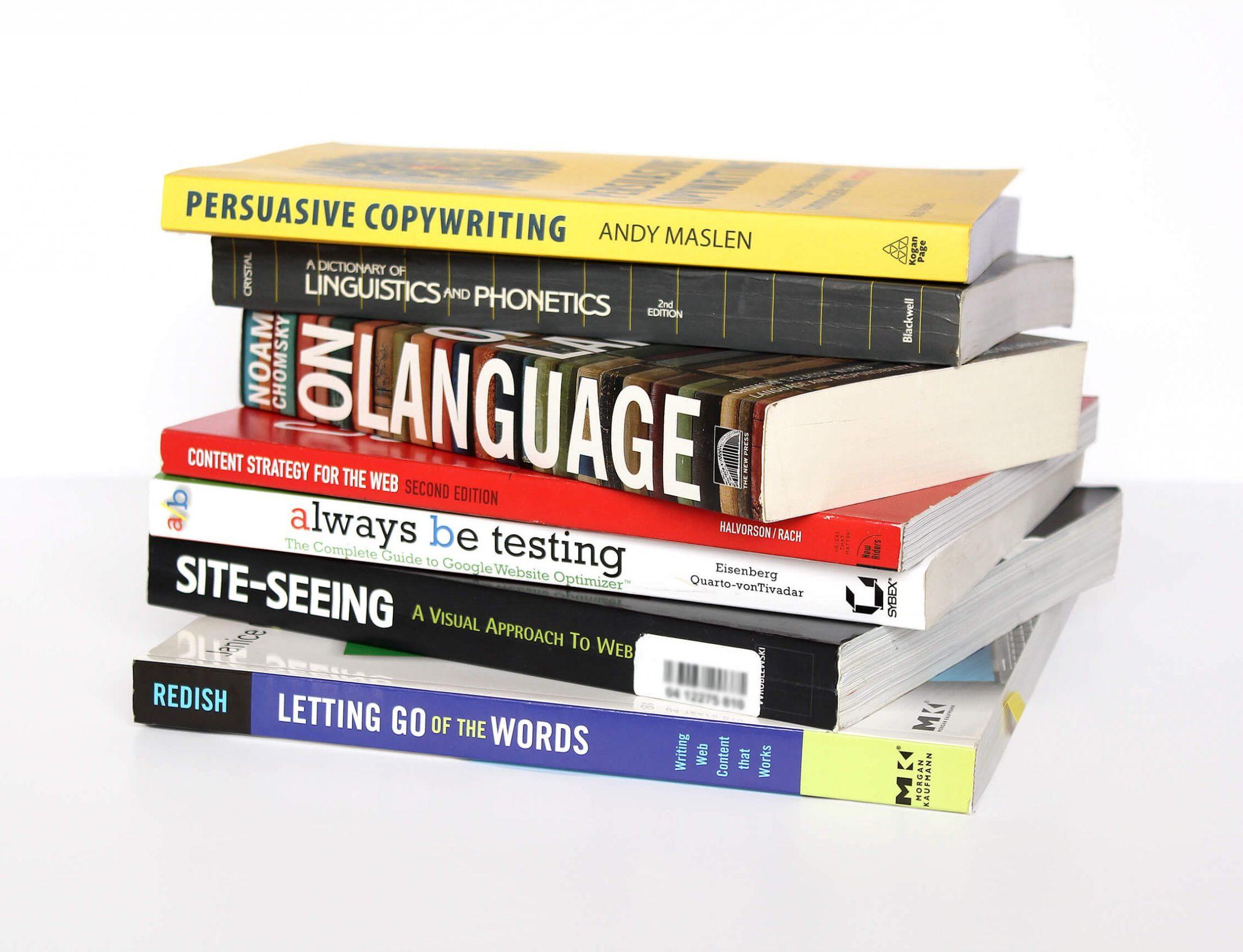 Web copywriting books stacked