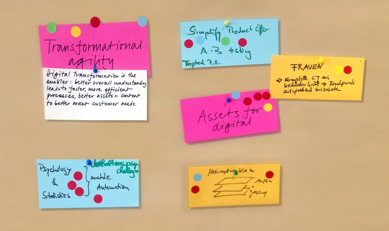 Post-it notes on wall for brainstorming session