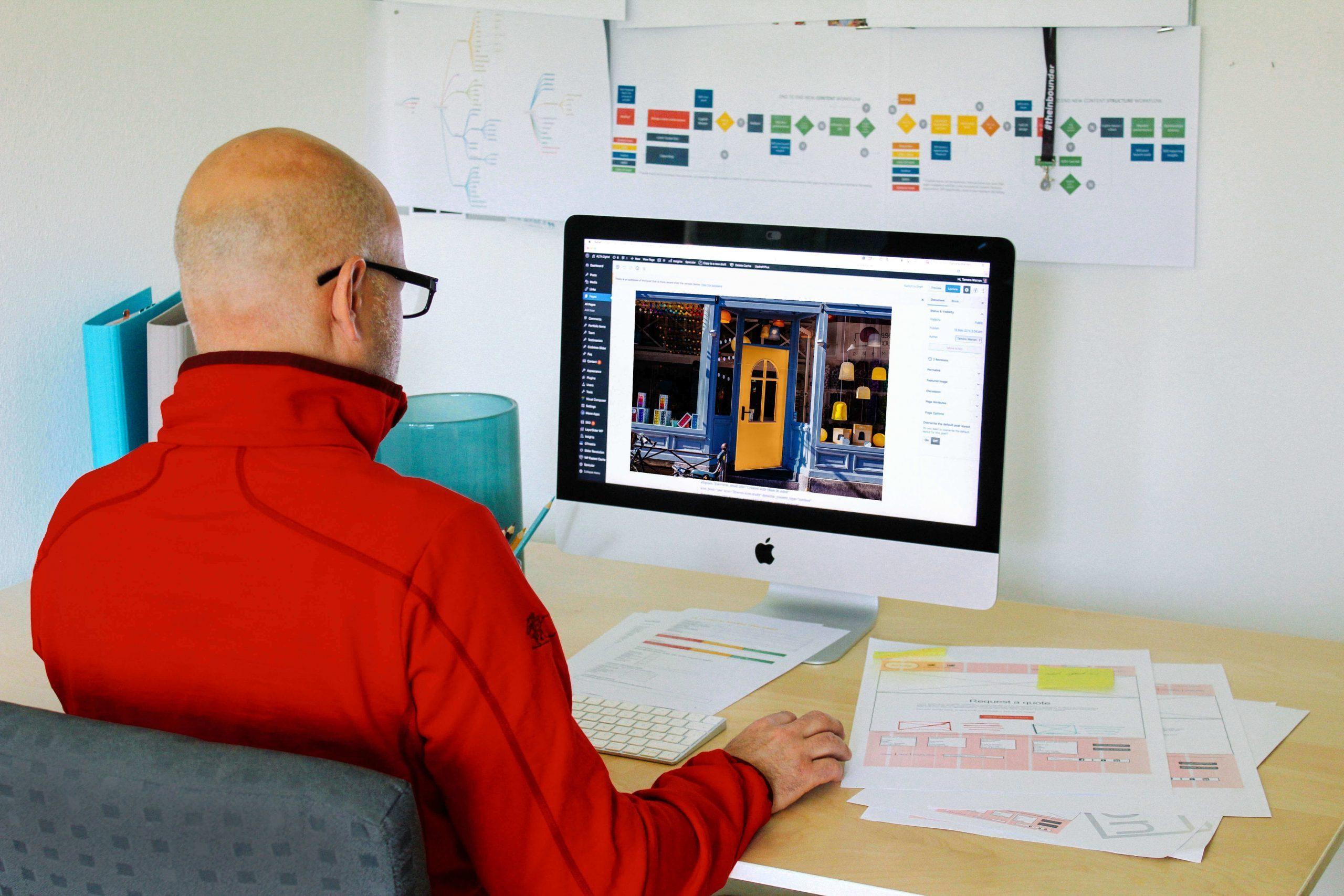 Man working on WordPress website development