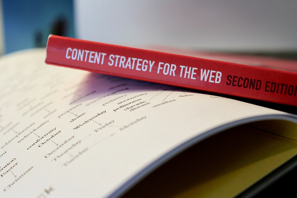 Content strategy book on table
