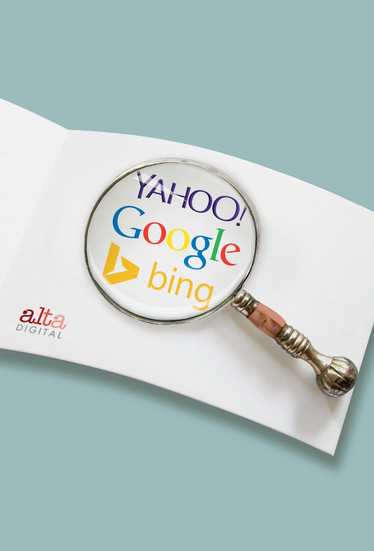 Magnifying glass on search logos