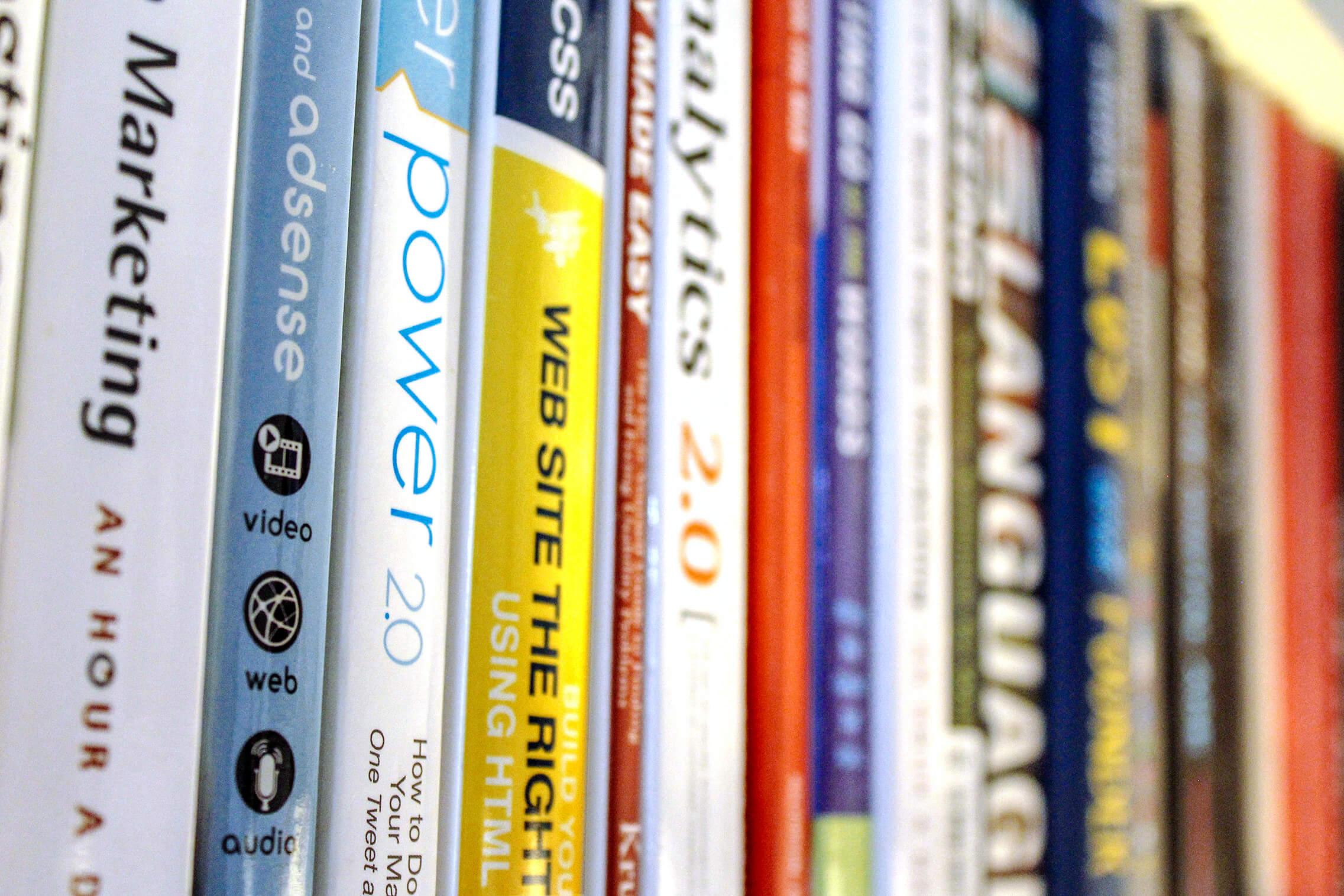 Digital marketing books on shelf