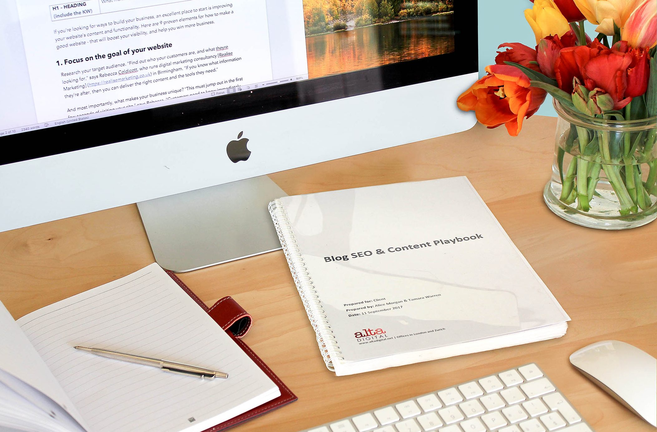 SEO and content playbook on desk
